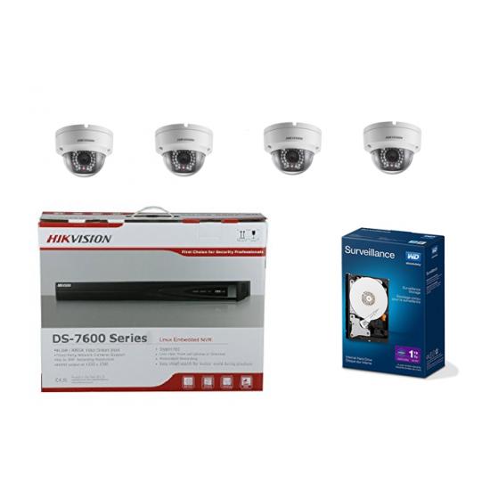 Hikvision Ensemble 4x caméras Dôme iP + Enregistreur NVR + Disque dur 1 TB