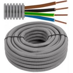 FLEX - Tube précâblé - Fil d'installation VOB - 4G1,5 mm² - tube gris Ø 16 mm