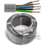 FLEX - Tube précâblé - Fil d'installation VOB - 5G1,5 mm² - tube gris Ø 16 mm