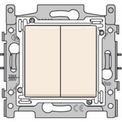 NIKO - Interrupteur double va-et-vient, socle et set de finition Cream/blanc
