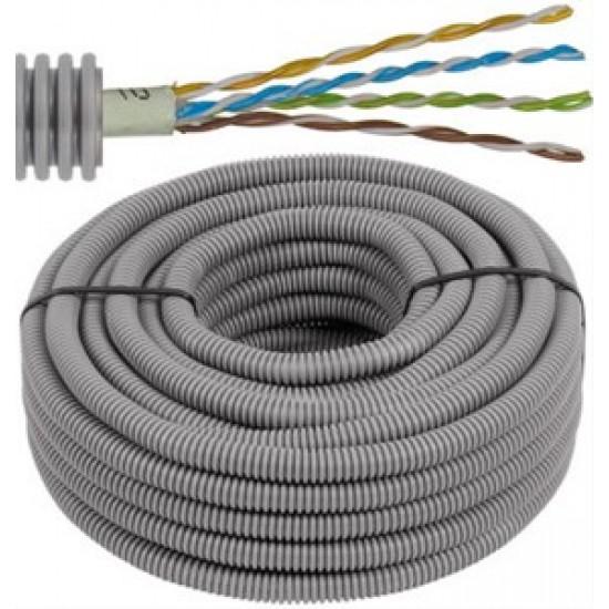 FLEX - Tube précâblé - UTP Cat. 5e - 4 x 2 x 0,5 mm - tube gris Ø 16 mm