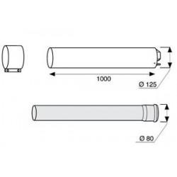 BULEX RALLONGE 80/125 MM PP LONGUEUR 1000 mm A2033600