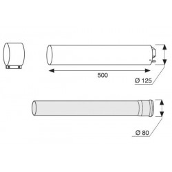BULEX RALLONGE 80/125 MM PP LONGUEUR 500 mm A2033500