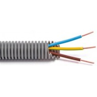 FLEX - Tube précâblé - Fil d'installation VOB - 3G1,5 mm² - tube gris Ø 16 mm 100m