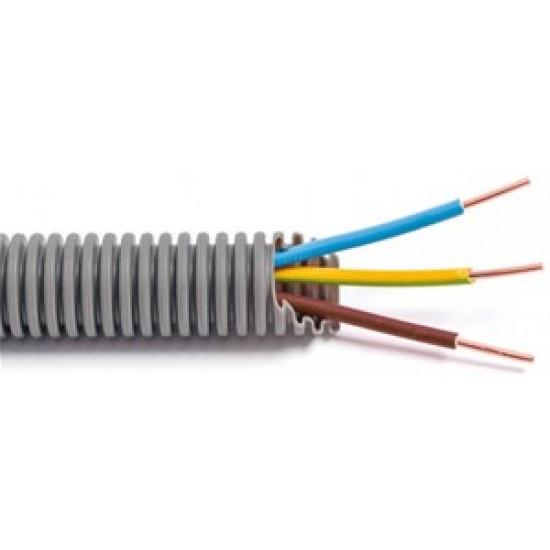 FLEX - Tube précâblé - Fil d'installation VOB - 3G2,5 mm² CCA - tube gris Ø 16 mm 100m